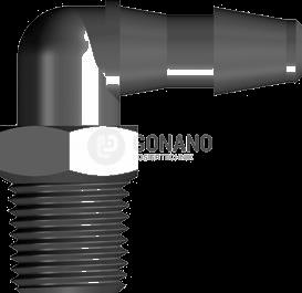 Fitting 90 Grad 1/8-27 NPT - Schlauch ID 4,8 mm schwarz