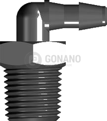 Fitting 90 Grad 1/8-27 NPT - Schlauch ID 3,2 mm schwarz